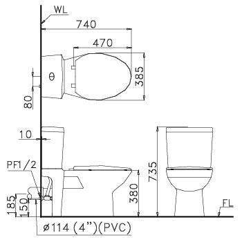 kích thước Bồn cầu 2 khối Caesar CPT1440