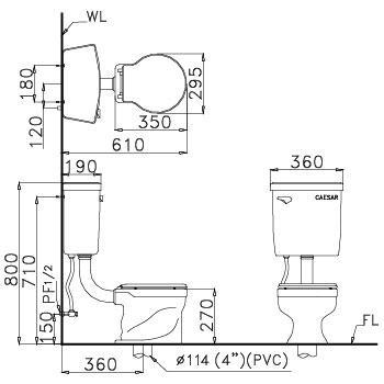 kích thước Bồn cầu 2 khối Caesar CT1026