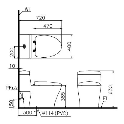 kích thước Bồn cầu 1 khối Caesar CD1356