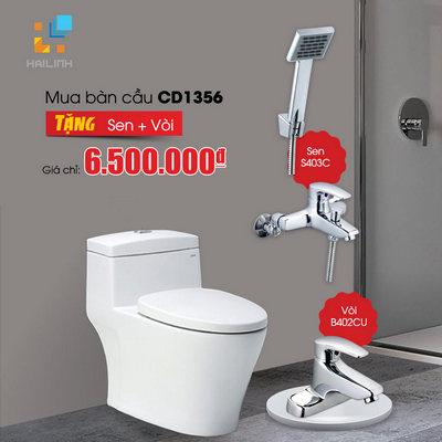 Bồn cầu CD1356 tặng vòi B402CU+ sen tắm S403C