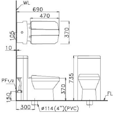 bản vẽ kỹ thuật Bồn cầu 1 khối Caesar CD1347