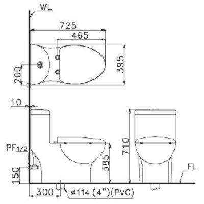 bản vẽ kỹ thuật Bồn cầu 1 khối Caesar CD1375