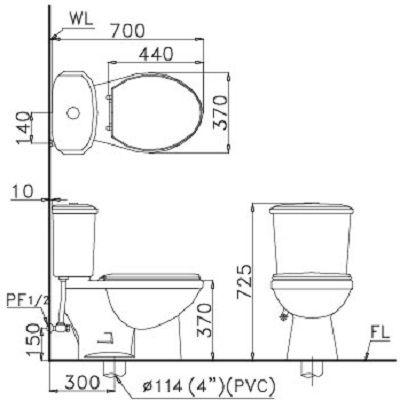 Bồn cầu 2 khối Caesar CTS1338