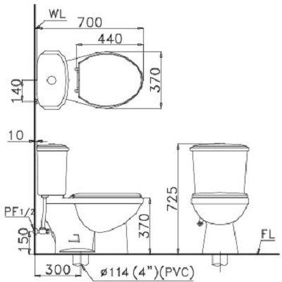 kích thước Bồn cầu 2 khối Caesar CT1338