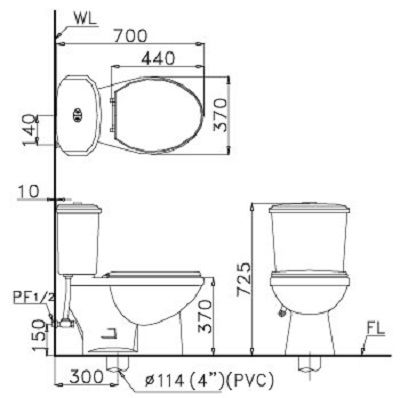 Bồn cầu 2 khối Caesar CD1338