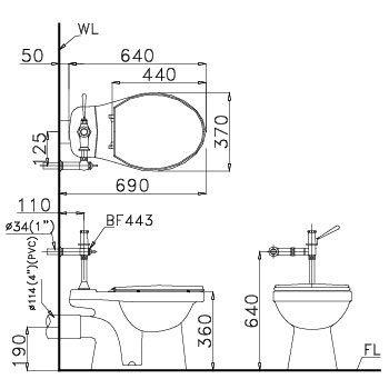 kích thước BÀN CẦU XẢ GẠT TAY CAESAR CPJ1334-19CM