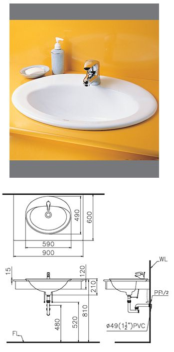 Lavabo bàn Caeasar L5020D